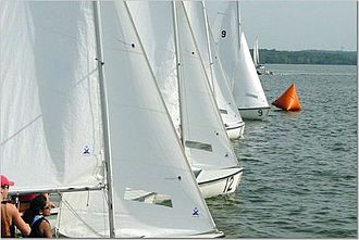 Regatta - A view from the Race Committee boat at the start of Vanderbilt Sailing Club's annual SAISA regatta in 2005.