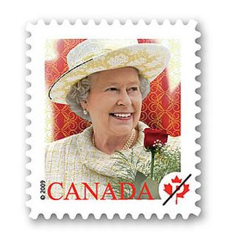 Queen Elizabeth II domestic rate stamp (Canada) - Image: 2009 queen stamp