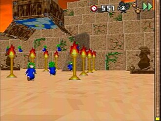 3D Lemmings - A level in 3D Lemmings
