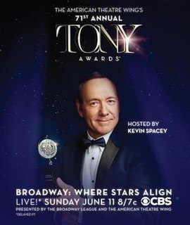 Tony Awards ceremony held on June 11, 2017, to recognize achievement in Broadway productions during the 2016–17 season, hosted by Kevin Spacey