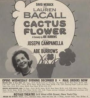 Cactus Flower (play) - Rare Broadway poster including the name of Joseph Campanella, who was replaced by Barry Nelson before opening night.