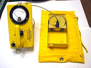 Civil defense Geiger counters - The Civil Defense CDV-717 with detachable ionization chamber deployed. Ionization chamber portion sits atop yellow anti-contamination bag.