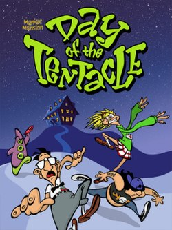 "Artwork of a vertical rectangular box. The top portion reads ""Maniac Mansion Day of the Tentacle"" with a group of three human characters and a purple tentacle."