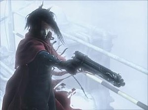 Vincent Valentine - Vincent's cape took many adjustments to perfect for Advent Children, and his gun was transformed to reflect his new role as the protagonist for Dirge of Cerberus