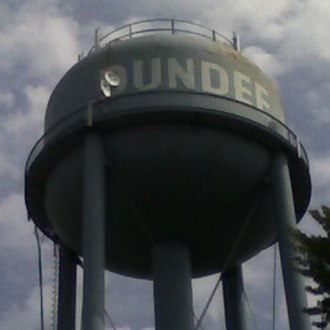 Dundee, Michigan - Former municipal water tower which was razed in 2009.