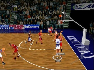 Fox Sports College Hoops '99 - A player from the University of Kentucky shoots a jump shot.