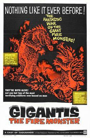 Godzilla Raids Again - Warner Bros. theatrical poster for the 1959 U.S release of Gigantis the Fire Monster.
