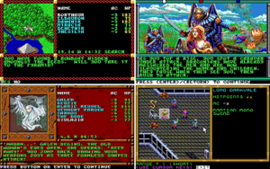 Clockwise from upper left: overland map exploration; plot cut scene; overall combat interface; dungeon exploration view/battle encounter approach