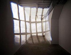 Ian Carr-Harris - 137 Tecumseth, 1994, wood, arborite, spotlight, lens, motor assembly