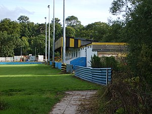 Keynsham Town L.F.C. - The current main stand at the Crown Field