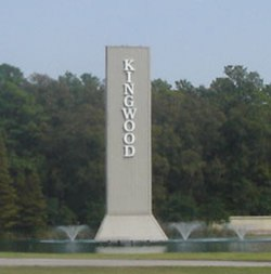 """KINGWOOD"" sign on Kingwood Drive entering Kingwood [now torn down]."