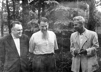 "Sergei Korolev - ""Chief Designer"" Korolev (left) with ""father of the Soviet atomic bomb"" Igor Kurchatov (centre) and ""Chief Theoretician"" Mstislav Keldysh (right), 1956"
