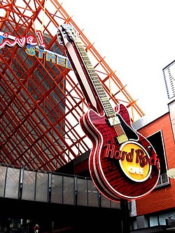 The large Hard Rock Cafe sign greets visitors to Fourth Street Live!