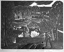 A landscape etching by Iain Macnab, Spring Landscape, Tossa c1945 showing a farmworker, village and rural scene in fine detail.