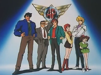 Armored Police Metal Jack - The main characters from left to right: Go, Jyogasaki, Ken, Eriko, Ryo and Sayuri.