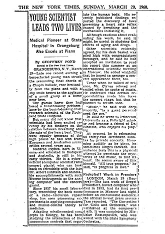 Manfred Clynes - 1960 NY Times article on Clynes