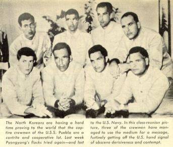 North Korea Propaganda Photograph of prisoners of the USS Pueblo, with the Hawaiian Good Luck Sign, 1968