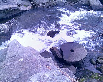 Pequonnock River - Abandoned millstone in Trumbull at the Daniel Hawley site.