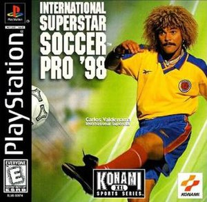 International Superstar Soccer Pro 98 - Cover art featuring Carlos Valderrama