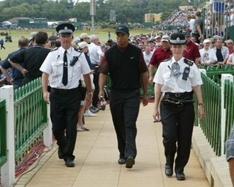 Fife Constabulary - Fife Officers with Tiger Woods at 2005 British Open Golf.