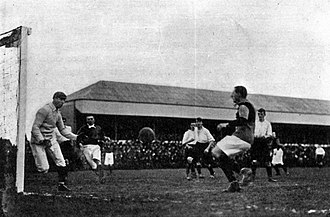 Leigh Richmond Roose - Roose gets into position to make a save for Stoke, c.1904. From Association Football and the Men Who Made It (1906).