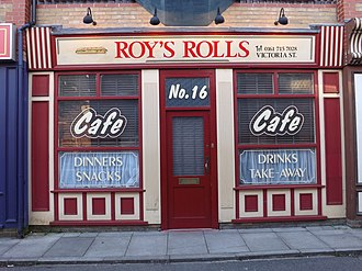 Weatherfield - The Original Roy's Rolls at Coronation Street: The Tour at the former Granada Studios at Quay Street, Manchester