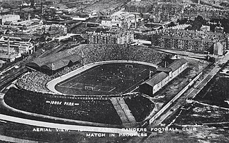Ibrox Stadium - Rangers play Motherwell at Ibrox Park in 1920. The pavilion and grandstand that can be seen on the right of the pitch, were replaced by the Bill Struth stand in 1928. The 'Bovril Stand' (North Stand) can be seen on the left.