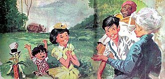 "Sítio do Picapau Amarelo (novel series) - The major characters illustrated by Manoel Victor Filho, for the Editora Brasiliense editions. From left to right, the corncob Viscount, the rag doll Emília, Lúcia (""Narizinho""), Pedrinho, Aunt Nastácia and Mrs Benta. In the background, the rhinoceros Quindim."