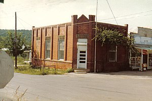Stringtown, Oklahoma - The old Stringtown Post Office, which was demolished early in the 1990s as it had become structurally unsound.