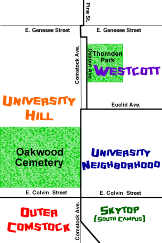 University Neighborhood, Syracuse, New York - The University Neighborhood in relation to other nearby neighborhoods, with approximate boundaries. (Not to scale)