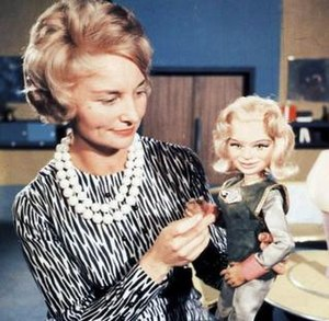 Sylvia Anderson - With the puppet of Dr Venus from Fireball XL5