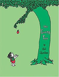 Cover to The Giving Tree, depicting the tree giving away an apple