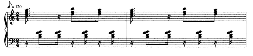 Typical piano accompaniment to a cha-cha-cha (Orovio 1981:132) Typical piano accompaniment.PNG