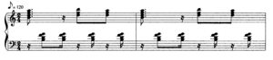 Cha-cha-chá (music) - Typical piano accompaniment to a cha-cha-chá (Orovio 1981:132)