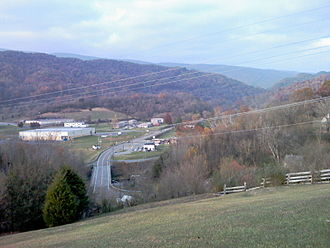 Saltville, Virginia - The View from Battle at Cedar Branch marker above Saltville.