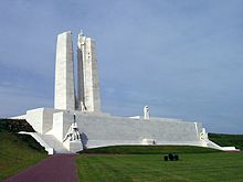 The Vimy memorial from the southeast. The memorial is very wide, indicative of being a photo from after the restoration.