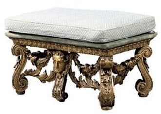 Wanstead House - Giltwood scroll-foot seat, early Georgian, from Wanstead House, sold by Christie's in 2008 for £135,000. It may be of the set of the chair on which Earl Tylney is seated in the Hogarth painting