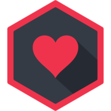 The WebTorrent logo is a red heart over a dark grey background with a red border hexagon.