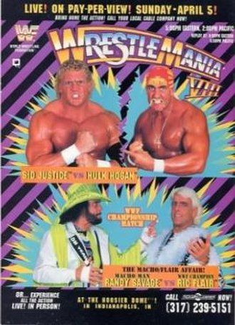 WrestleMania VIII - Promotional poster featuring event headliners. Clockwise from top left: Sid Justice, Hulk Hogan, Ric Flair and Randy Savage.