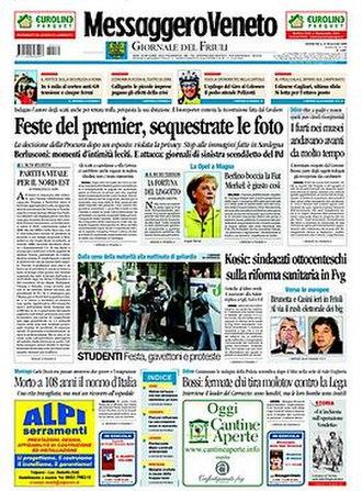 Messaggero Veneto – Giornale del Friuli - Image: 20090531 messaggeroveneto frontpage