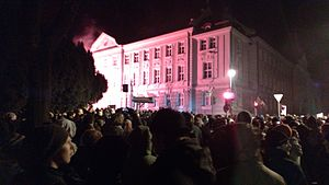 2012 in Slovenia - Protesters in front of Maribor's Municipal building on 3 December 2012
