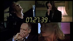A split screen image from the TV series 24. In the image, it shows several different people, in different locations, depicted at the same time. This is used to show the viewer what different characters are doing at the same time