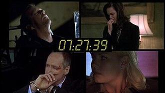 24 (TV series) - An example of a 24 split screen with the running clock, from the season 7 finale