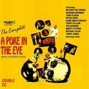 A Poke in the Eye (With a Sharp Stick) - The cover of the 1992 CD reissue of the live album made from the A Poke In The Eye show.  The cover is based on the original artwork created for the show in 1976.