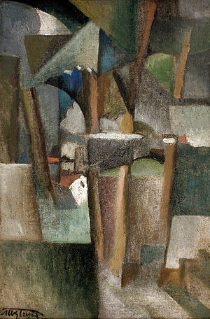 "Bords de la Marne - Albert Gleizes, 1910, Les Arbres (The Trees), oil on canvas, 41 × 27 cm. Reproduced in Du ""Cubisme"", 1912"