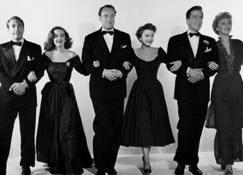 The principal cast of All About Eve. (Left to right) Gary Merrill, Bette Davis, George Sanders, Anne Baxter, Hugh Marlowe and Celeste Holm.