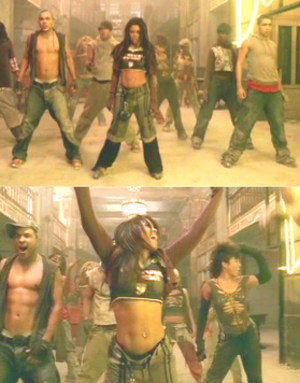 All Nite (Don't Stop) - Jackson dances in an abandoned hotel during a blackout in the music video, with power restored during the finale (pictured).