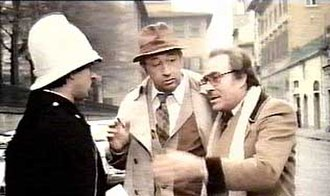 "My Friends (film) - Tognazzi (right) attempting to confuse a traffic agent with his ""Supercazzola"", a trademark prank consisting of a series of meaningless, fast-spoken phrases."