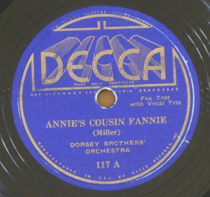 """Annie's Cousin Fannie - 1934 Decca 78, 117A, """"Annie's Cousin Fannie""""."""