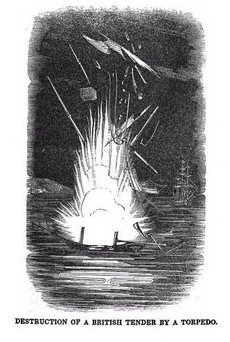 Naval mine - David Bushnell's mines destroying a British ship in 1777